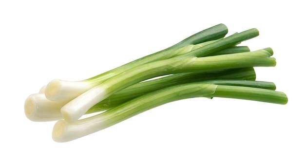 Cebolinha verde fresca isolada no fundo branco