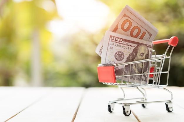 Cédula do dólar americano no carrinho de compras na madeira. amo o conceito de compras