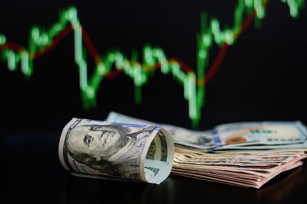 Cédulas roladas dos dólares contra o fundo das cotações da ação. finanças e um conceito de negócio