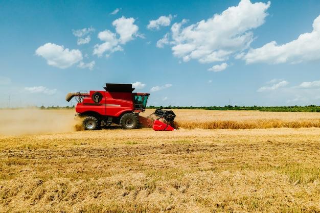 Ceifeiras-debulhadoras colhem trigo em uma colheitadeira amarela trabalhando no campo vista aérea vi ...