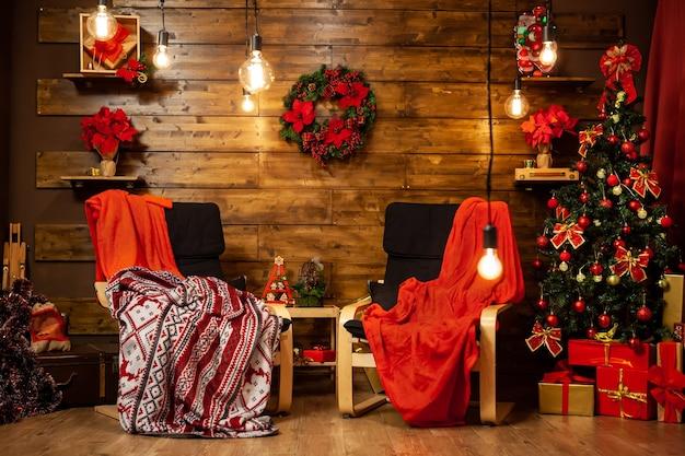 Celebração da véspera de natal em design de casa coxy. os feriados estão aqui.
