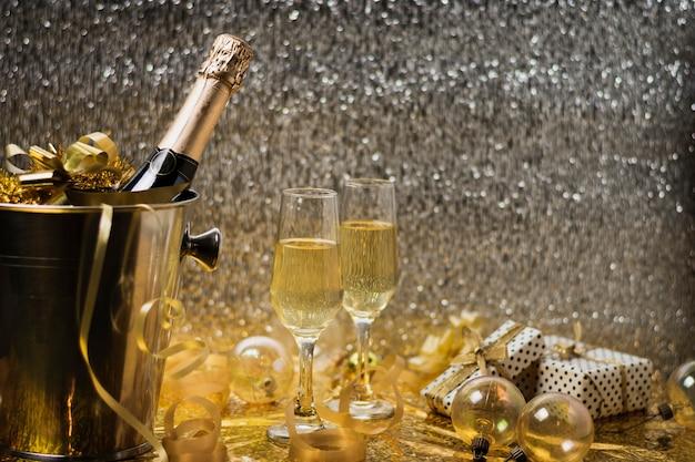 Celebração de ano novo de vista frontal