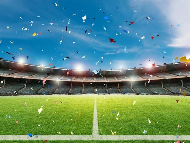 Celebração de confetes de renderização 3d no fundo do campo de futebol