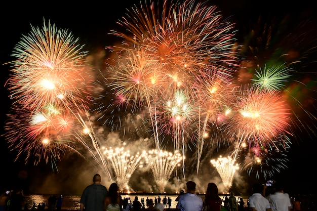 Celebração de fogos de artifício coloridos e o fundo do céu à noite