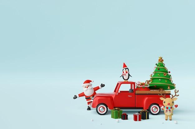 Celebração de natal com caminhão de natal e renderização 3d de papai noel