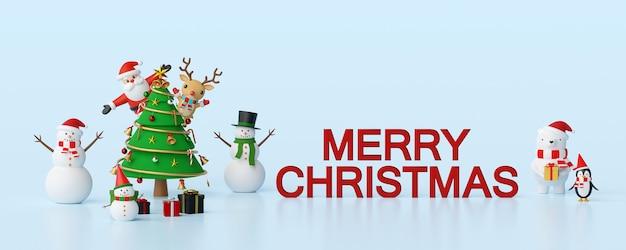 Celebração de natal com papai noel e amigos renderização 3d