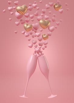 Celebração do amor com taças de champanhe