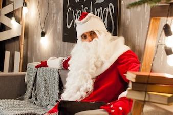 Celebração, natal, ano novo, tempo de inverno, férias, papai noel, sozinho