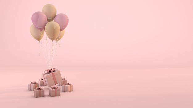 Celebração rosa com caixa de presente rosa e fundo rosa