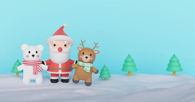 Celebrações de natal com papai noel e amigos
