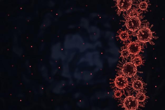 Célula de doença do surto de coronavírus covid-19 e fundo de influenza de coronavírus, renderização 3d