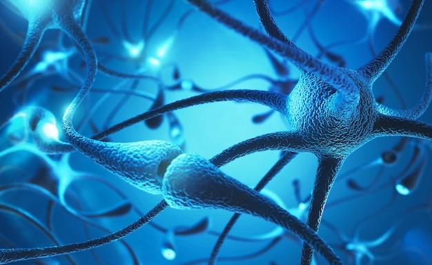 Célula de neurônio com ilustração do conceito 3d de pulsos elétricos.