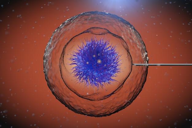 Célula humana abstrata com agulha de tubo sob microscópio closeup extrema. renderização 3d