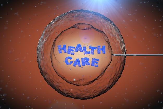 Célula humana abstrata com sinal de cuidados de saúde e agulha de tubo sob microscópio closeup extrema. renderização 3d