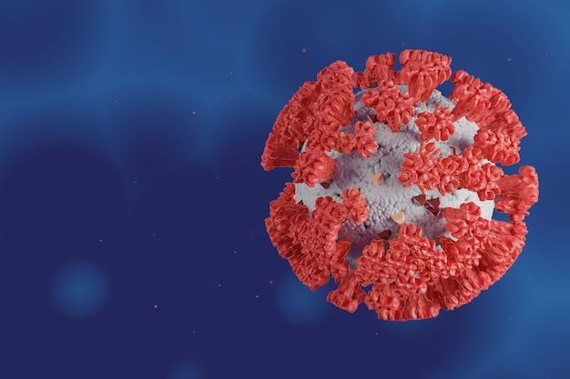 Célula microscópica do corona virus ou covid 19 para cuidados de saúde e conceito médico, ilustração 3d