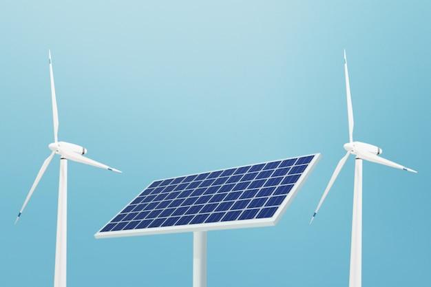 Célula solar e tecnologia de painel de energia de turbina eólica, ilustração 3d