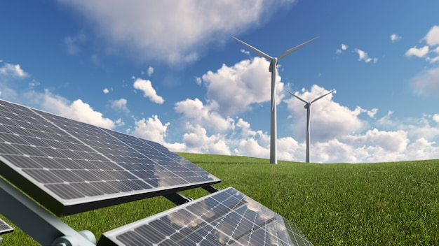Célula solar na grama verde