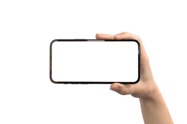 Celular na mão com tela branca horizontalmente, isolada em uma foto de fundo branco