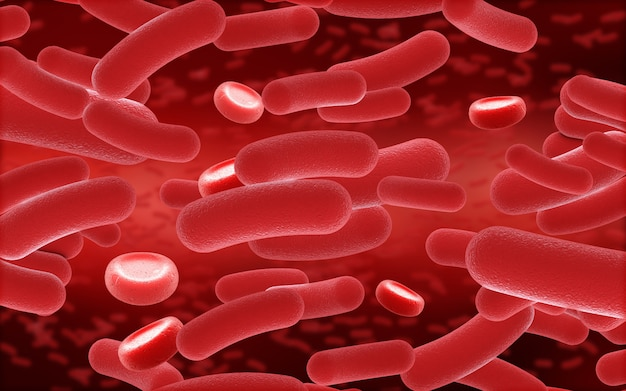 Células 3d de sangue e vírus