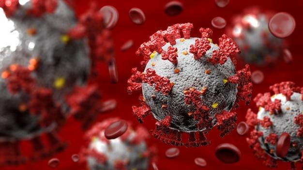 Células de coronavírus com glóbulos vermelhos humanos em vasos sanguíneos humanos