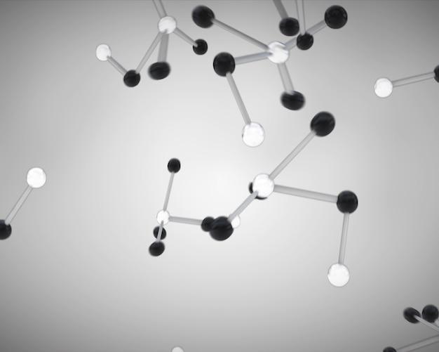 Células de moléculas preto e branco