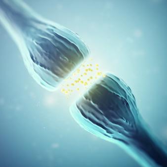 Células de sinapse e neurônio enviando sinais químicos elétricos. renderização em 3d