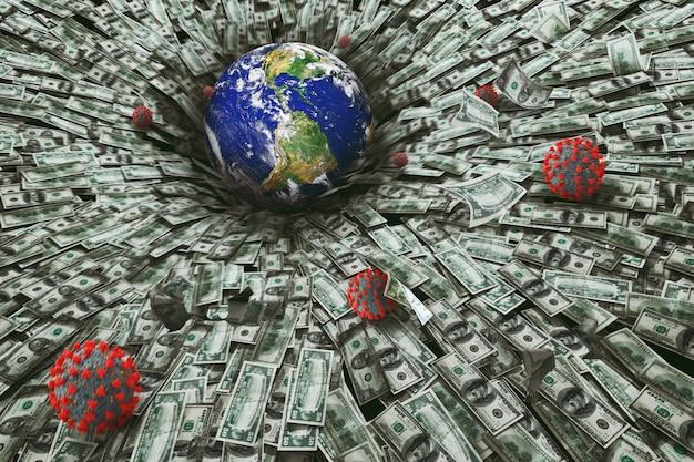 Células do globo e coronavírus caindo sobre muitas notas de dólar