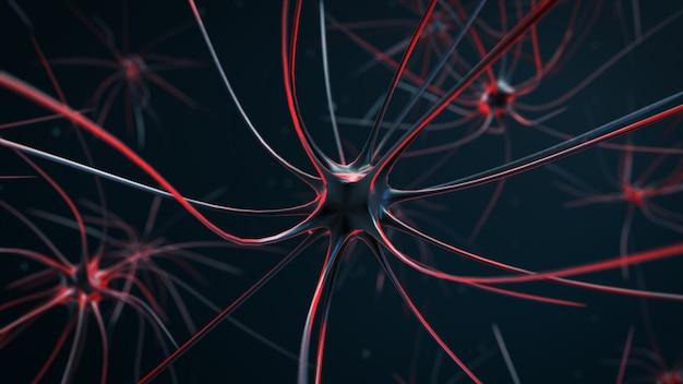 Células nervosas irritadas na ilustração 3d do corpo