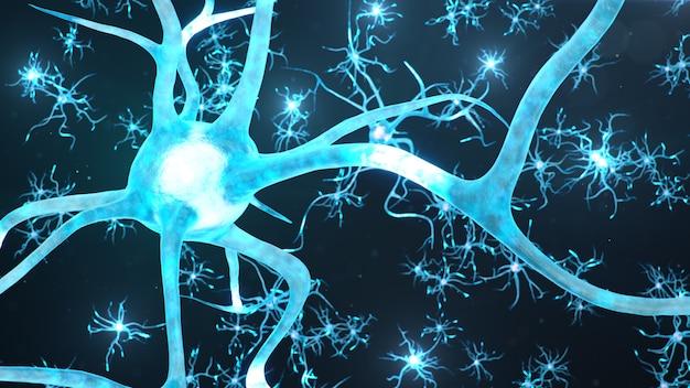Células neurais abstratas. sinapses e células neuronais enviam sinais químicos elétricos.