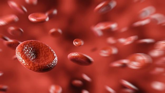 Células sanguíneas fundo abstrato vermelho plasma médico e hemoglobina eritrócitos da artéria humana hematologia medicina Foto Premium