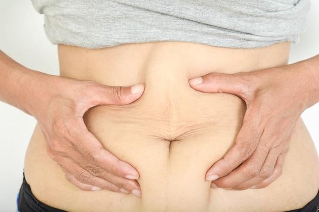 Celulite na barriga gorda.