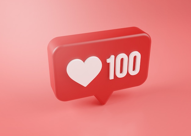 Cem ícone de notificação de amor renderização em 3d no fundo rosa
