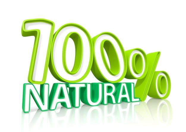Cem por cento natural. ilustração 3d. fundo branco isolado.