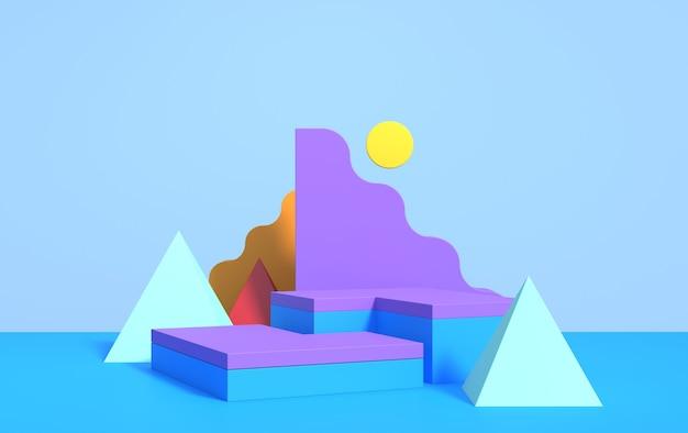 Cena 3d abstrata com formas geométricas de cores diferentes, com pódio para demonstração do produto, render