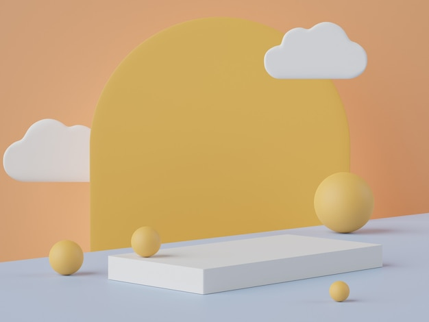 Cena 3d abstrata mínima de exibição de pódio em tons pastéis