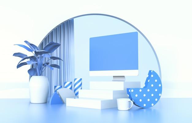 Cena 3d com computador desktop e ícone de ferramentas de marketing. trabalhando em casa conceito.