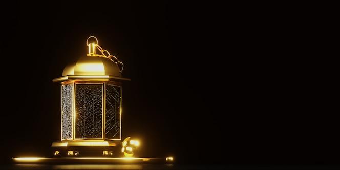cena 3d da lua do ramadã com cor dourada