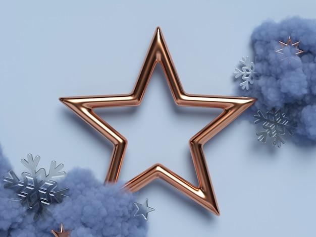 Cena 3d de ano novo com estrela