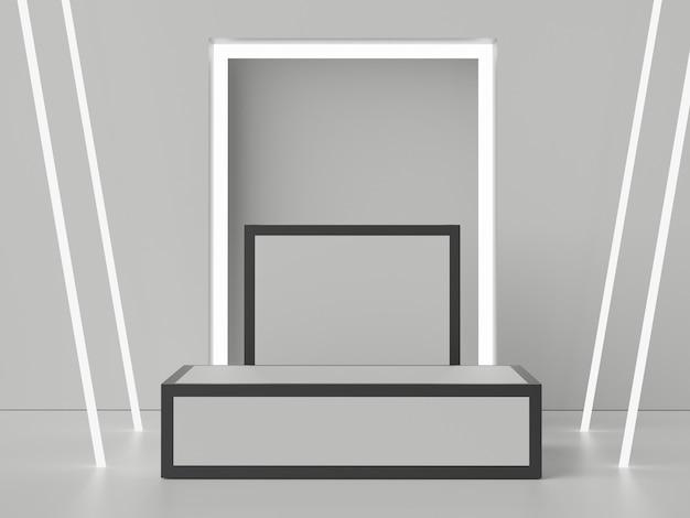 Cena 3d do pódio de displays para mock up e apresentação de produtos com fundo em tom de terra mínimo.