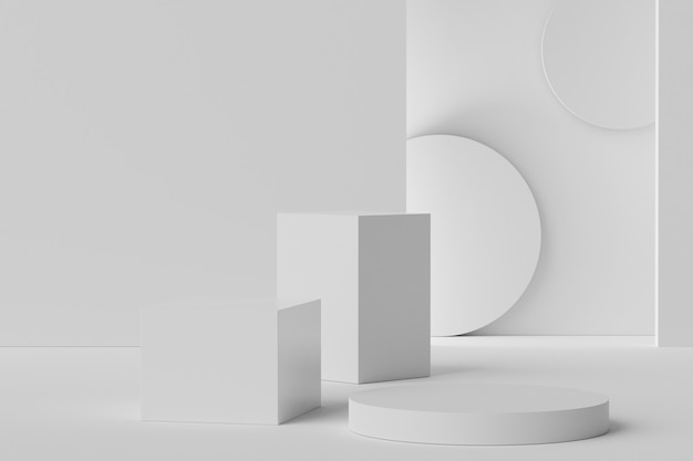 Cena 3d do pódio de exibição para mock up e apresentação de produtos com fundo de mármore branco mínimo