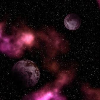 Cena 3d espaço abstrato com planetas