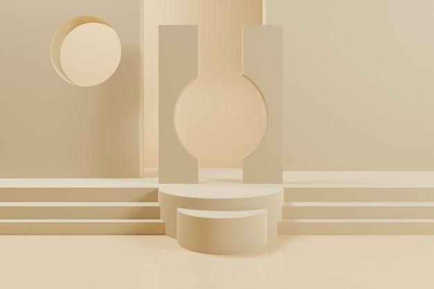 Cena 3d geométrica abstrata com pódio de cor amarela.