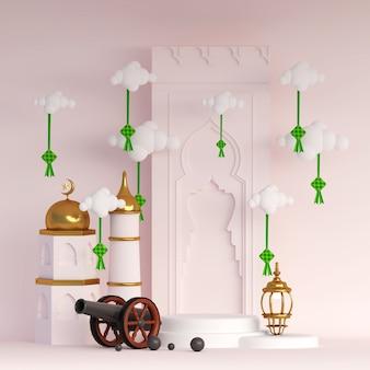 Cena 3d islâmica do ramadã com ketupat