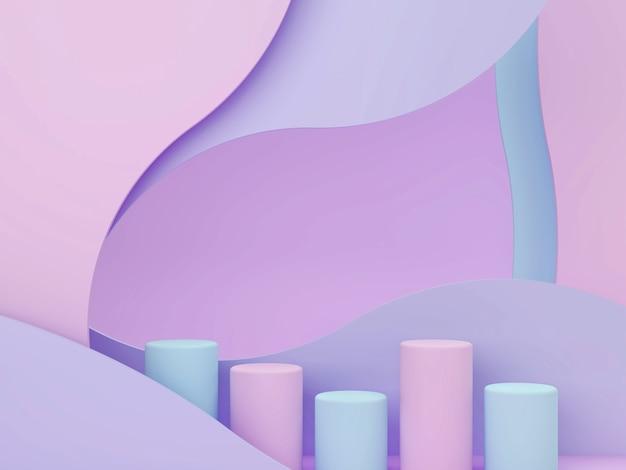 Cena 3d mínima com formas geométricas, pódio e fundo abstrato curvado em tons pastel.