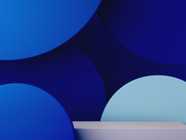 Cena 3d mínima com pódio e fundo abstrato em cores azuis.