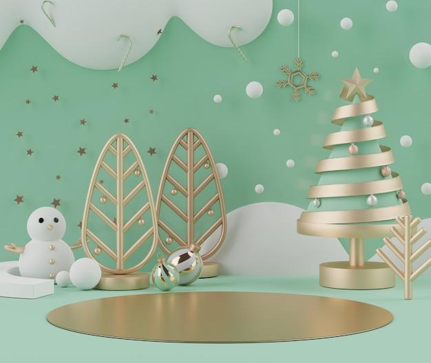 Cena 3d mínima de natal com pódio para mock up e apresentação do produto Foto Premium