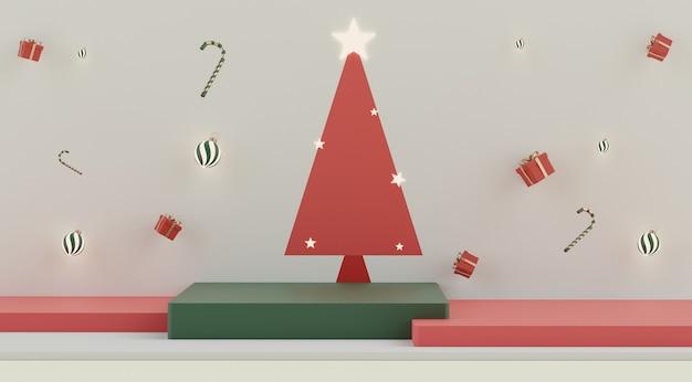Cena 3d mínima de natal com pódio para mock up e apresentação do produto