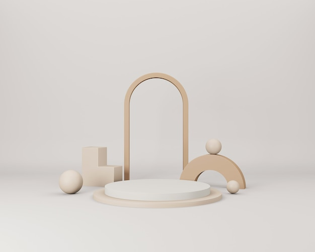 Cena 3d minimalista abstrata com formas geométricas bege em fundo bege claro