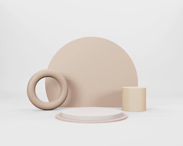 Cena 3d minimalista abstrata com formas geométricas bege em fundo branco