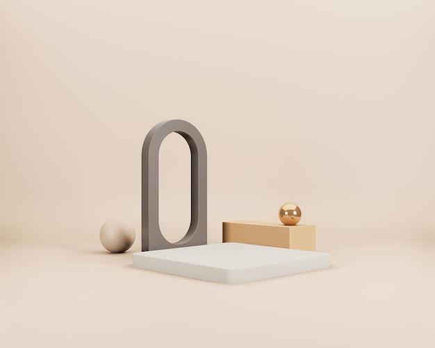 Cena 3d minimalista abstrata com formas geométricas brancas, marrons e douradas sobre fundo bege